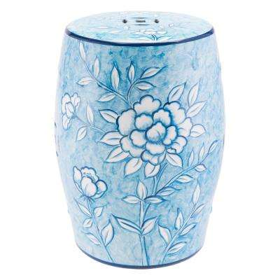 Flower Blue and White Stone Outdoor Side Table