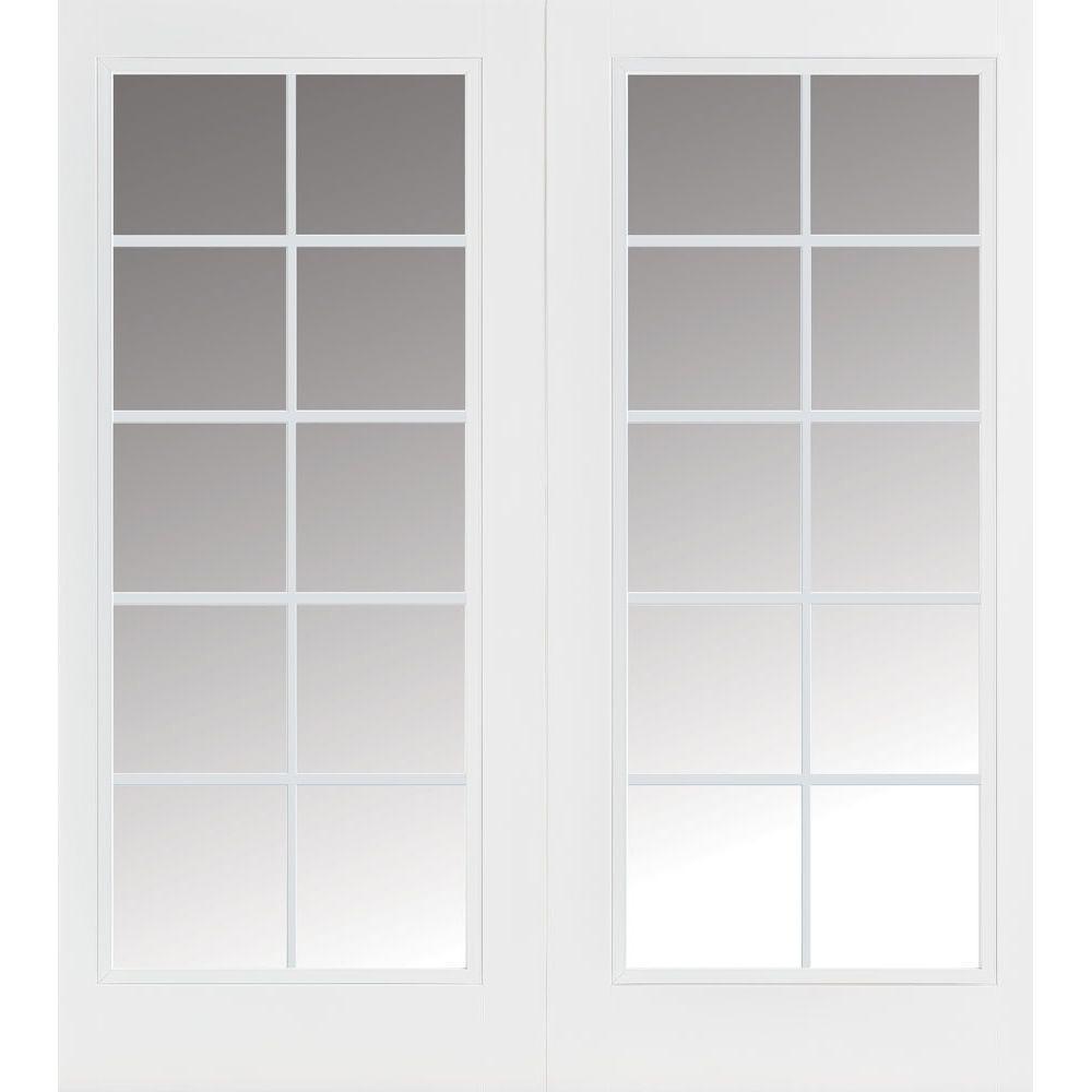 Masonite 72 in. x 80 in. Primed Prehung Left-Hand Inswing 10 Lite Steel Patio Door with No Brickmold