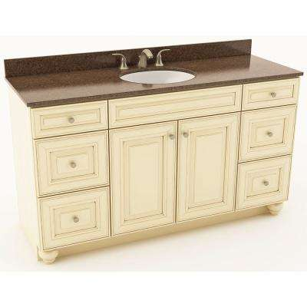 Savannah 61 in. W x 20-3/4 in. D Bath Vanity in Hazelnut with Quartz Vanity Top in Iron Bark with Oval White Basin