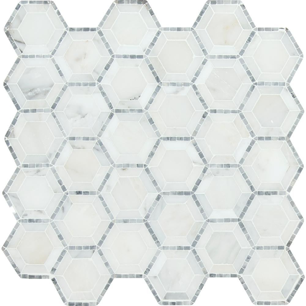 MSI Telaio Hexagon 12 in. x 12 in. x 10 mm Honed Marble Mesh-Mounted Mosaic Tile (10 sq. ft. / case)