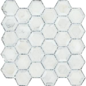 Telaio Hexagon 12 in. x 12 in. x 10mm Honed Marble Mesh-Mounted Mosaic Tile