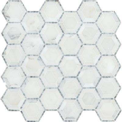 Telaio Hexagon 12 in. x 12 in. x 10mm Honed Marble Mesh-Mounted Mosaic Tile (10 sq. ft. / case)