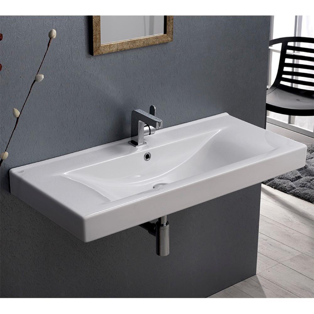 Nameeks Mona Wall Mounted Bathroom Sink In White Cerastyle 064600 U