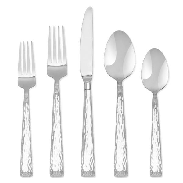 20-Piece Brocade Hammered 18/0 Stainless Steel Flatware Set (Service for 4)