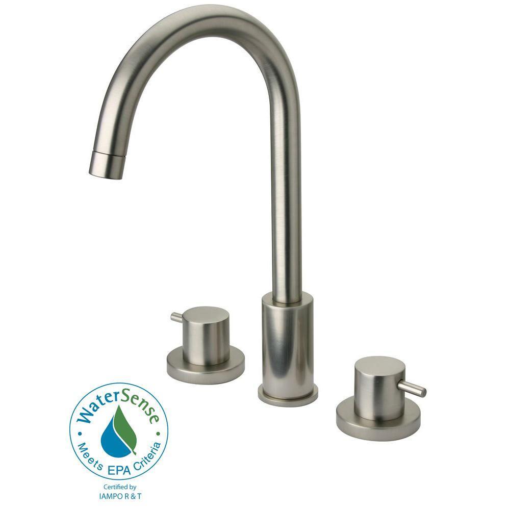 LaToscana Elba 8 in. Widespread 2-Handle High-Arc Bathroom Faucet in Brushed Nickel