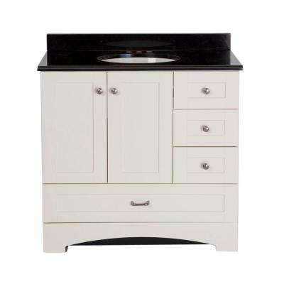 Manchester Vanity In Vanilla With 37 In. Colorpoint Vanity Top In Black