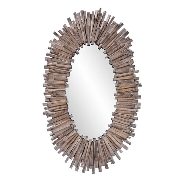 Large Oval Natural Wood With Gray Wash Art Deco Mirror (49 in. H x 30 in. W)
