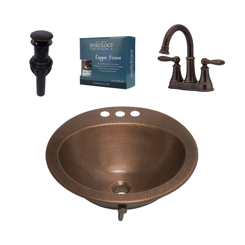 SINKOLOGY Bell All-In-One Drop-In Copper Bath Sink Design Kit with Pfister 4 in. Rustic Bronze Faucet