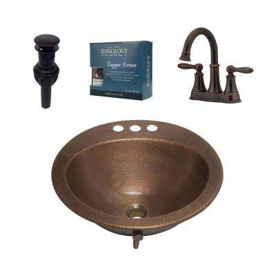 Bell All-In-One Drop-In Copper Bath Sink Design Kit with Pfister 4 in. Rustic Bronze Faucet