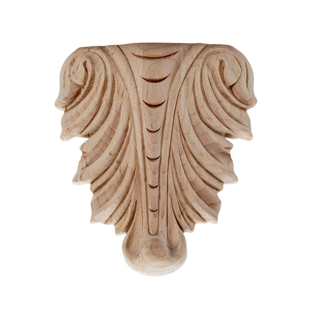 American Pro Decor 3-7/8 in. x 3-3/8 in. x 3/4 in. Unfinished Hand Carved North American Solid Hard Maple Wood Onlay Acanthus Wood Applique