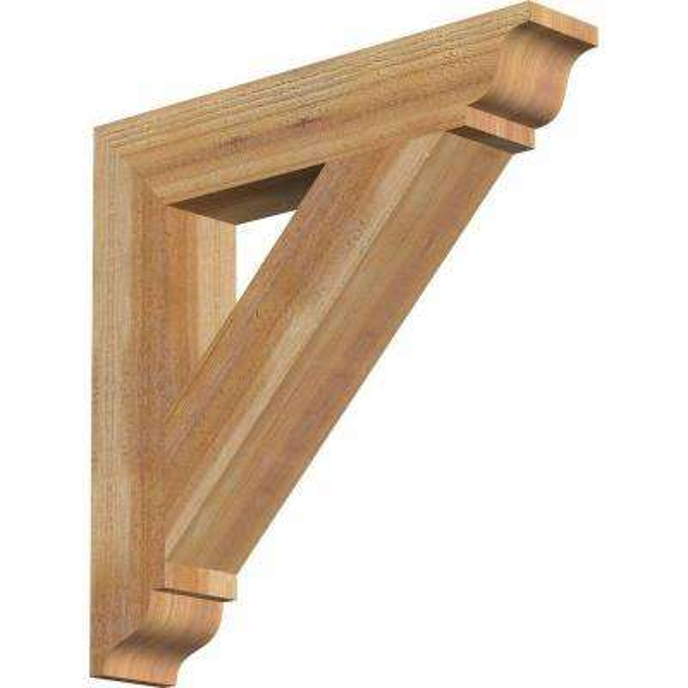 4 in. x 22 in. x 22 in. Western Red Cedar Traditional Rough Sawn Bracket