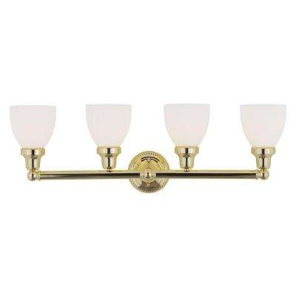 4-Light Polished Brass Bath Light with Satin Glass Shade