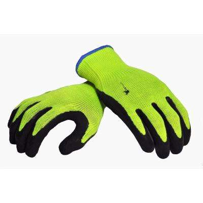 Medium MicroFoam Double Textured Latex Coated High Visibility Work Gloves (3-Pair per Pack)