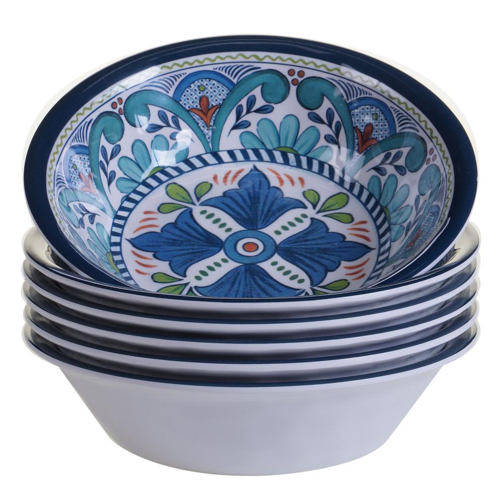 Certified Intl Talavera 6-Piece Blue Bowl Set