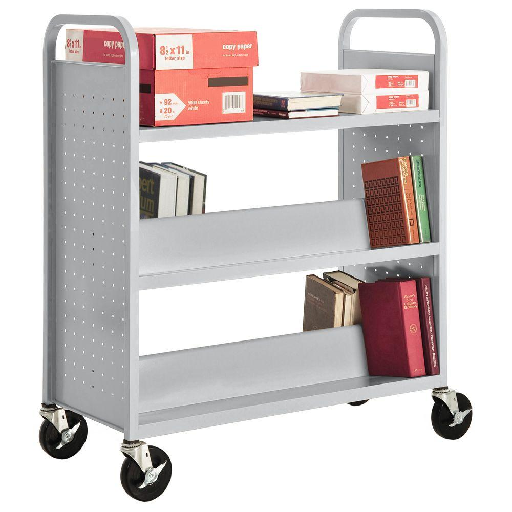 Dove Gray Mobile Steel Bookcase