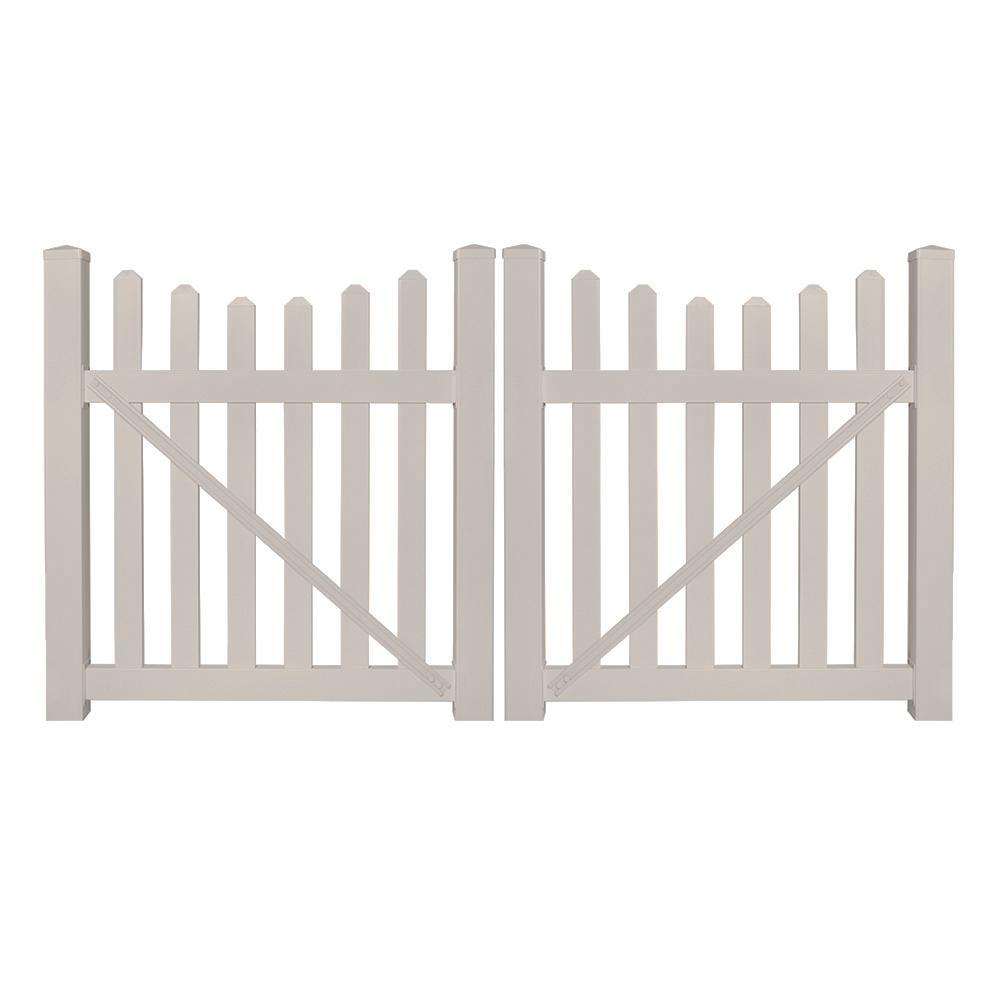 Ellington 8 ft. W x 4 ft. H Tan Vinyl Picket Fence Double Gate