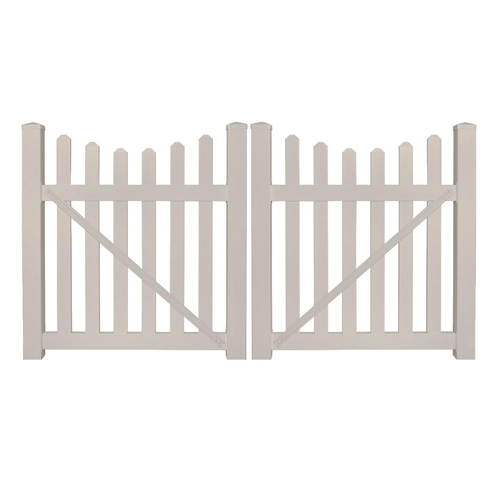 Weatherables Ellington 8 ft W x 5 ft H Tan Vinyl Picket Fence