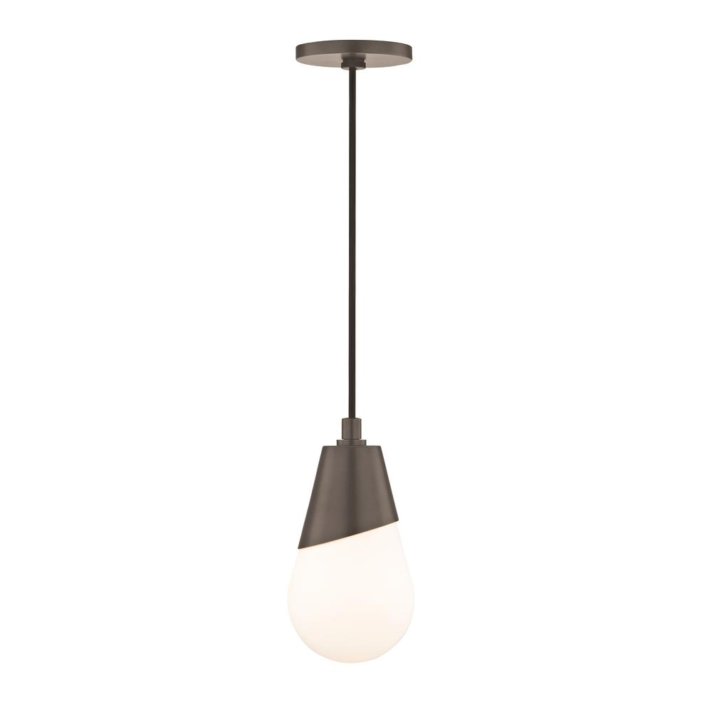 Mitzi by Hudson Valley Lighting Cora 1-Light Old Bronze Pendant with Opal Etched Glass