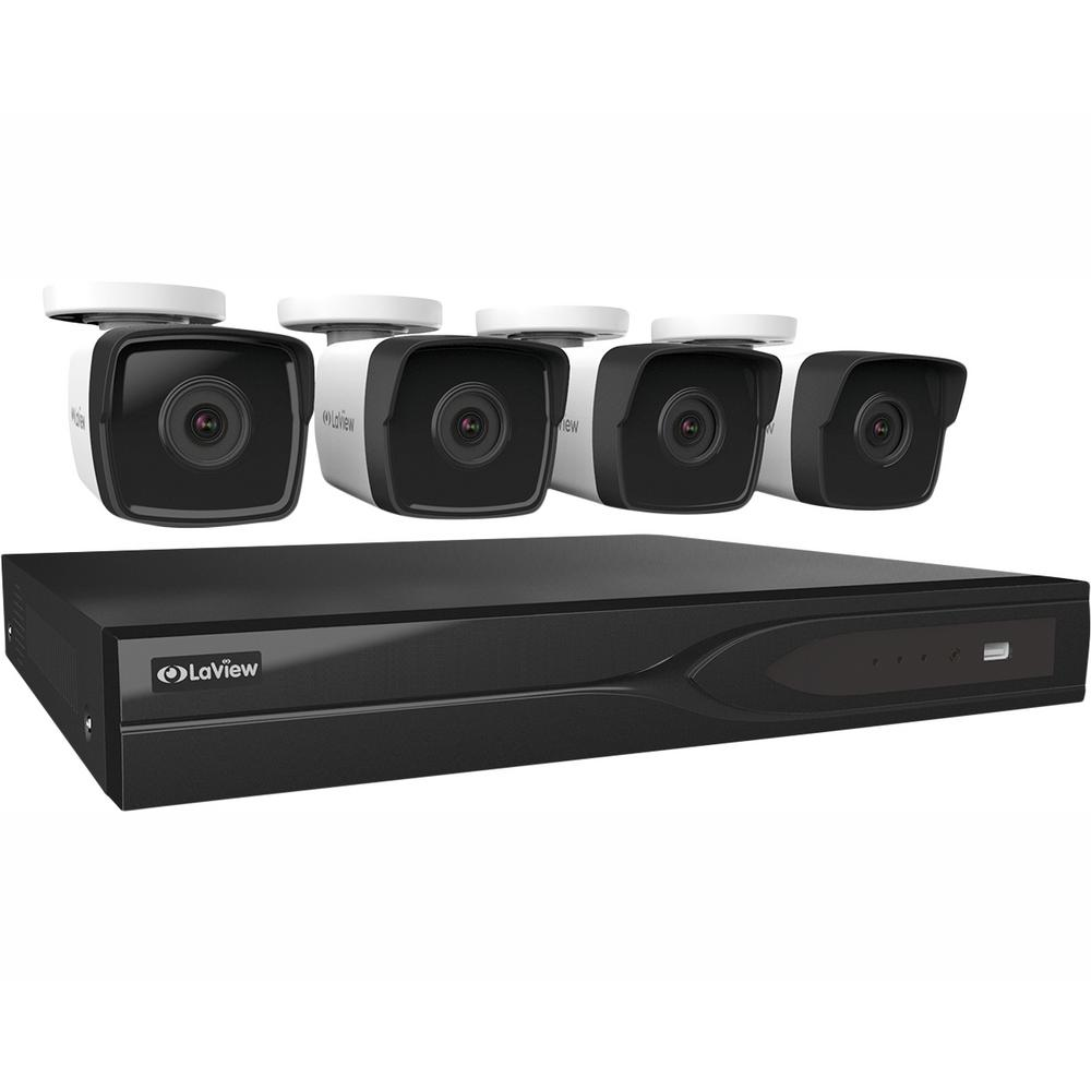LaView 8-Channel 5 MP Extreme HD TVI 1TB HDD Surveillance DVR System, (4) 5 MP Bullet Cameras with Color Night Imaging