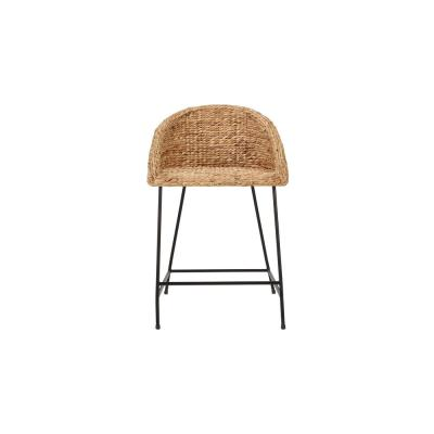 StyleWell Black Metal Counter Stool with Back and Natural Seat (21.42 in. W x 34.25 in. H)