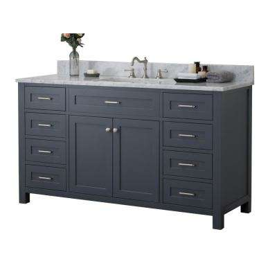 Redmond 60 in. W x 34.2 in. H Bath Vanity in Gray with Marble Vanity Top in White with White Basin