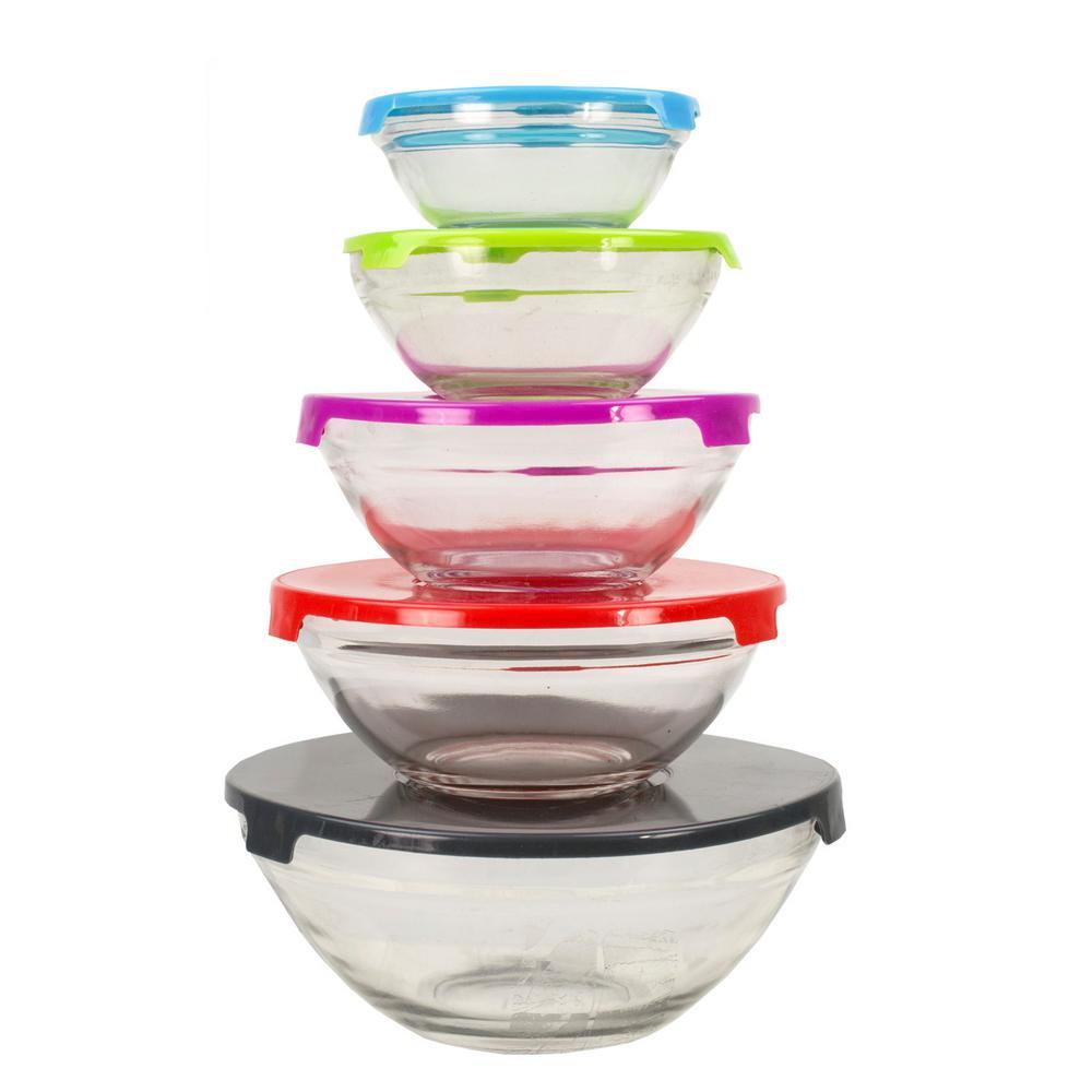Home Basics 5 Piece Glass Bowl Set With Plastic Colorful Lids