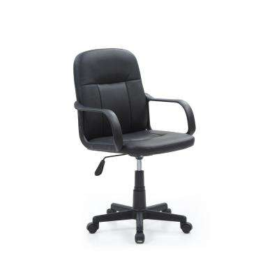 Black PU Leather Mid Back Office Chair
