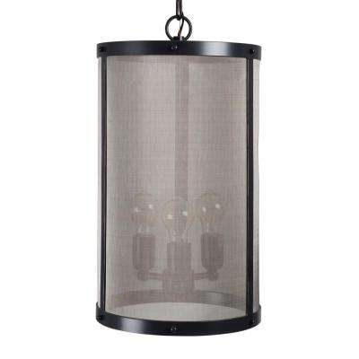 Amador Collection 3-Light Antique Black Chandelier with Gold Accents Shade