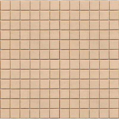Coffeez Latte-1101 Mosiac Recycled Glass Mesh Mounted Floor and Wall Tile - 3 in. x 3 in. Tile Sample