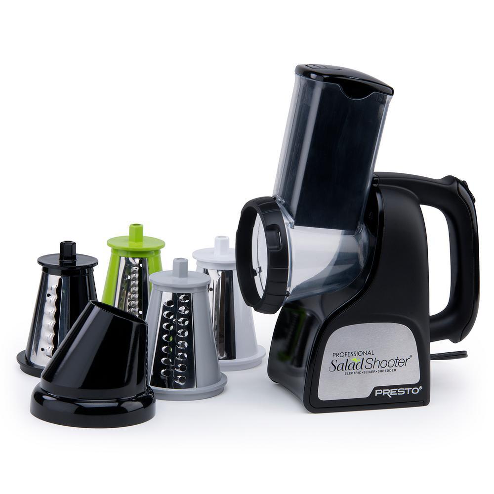 Professional Saladshooter 114 W Black Electric Food Slicer and Food Shredder