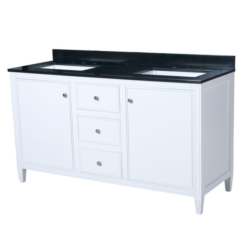 Heather 60.5 in. W x 22 in. D Vanity in White with Granite Vanity Top in Black with White Basin