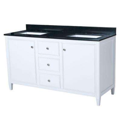 Heather 60.5 in. W x 22 in. D Vanity in White with Granite Vanity Top in Black with White Basin