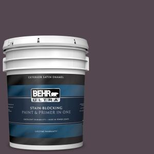 Behr Ultra 5 Gal N100 7 Aubergine Satin Enamel Exterior Paint And Primer In One 985305 The Home Depot