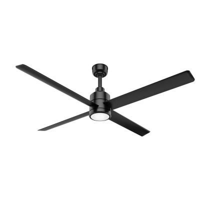 Trak 84 in. Integrated LED Indoor/Outdoor Matte Black Commercial Ceiling Fan with Light and Wall Control