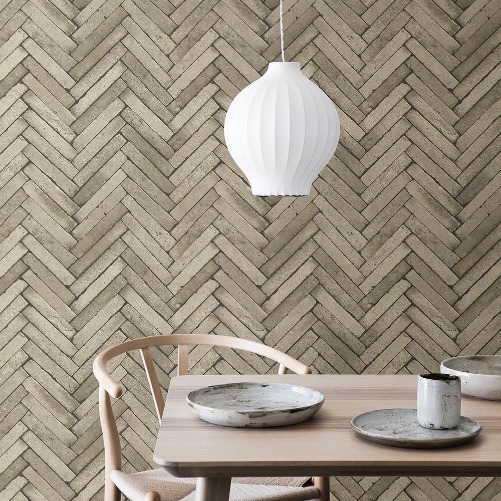 Brewster 56.4 sq. ft. Arrow Neutral Diagonal Slate Wallpaper