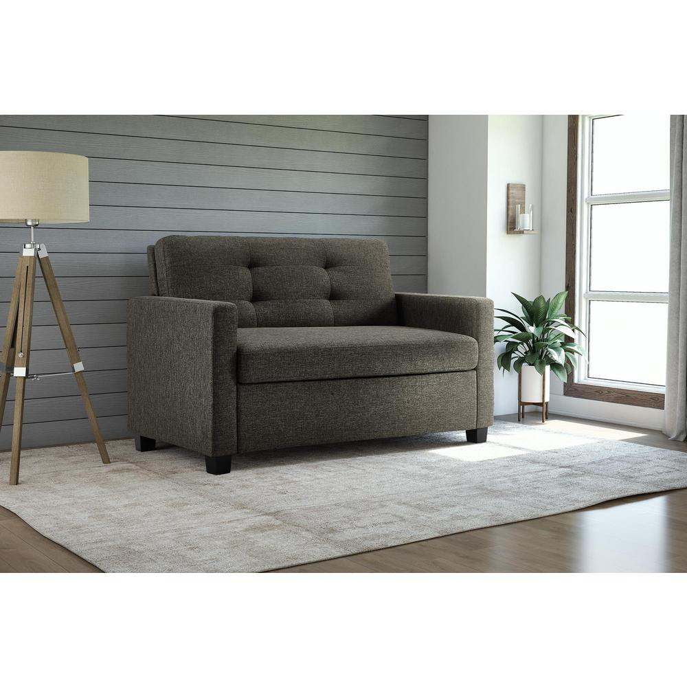 Dhp Donna Grey Linen Twin Sleeper Sofa With Memoir Memory Foam Mattress