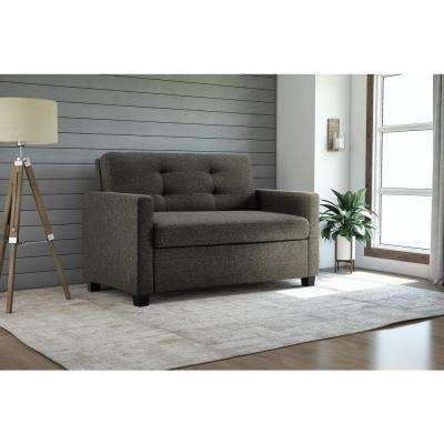 Donna Grey Linen Twin Sleeper Sofa with Memoir Memory Foam Mattress