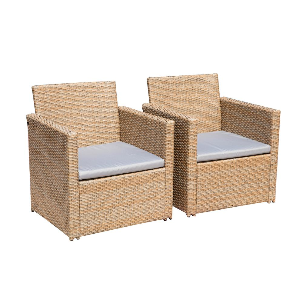 Enjoyable Patio Festival Wicker Outdoor Lounge Chair With Gray Cushions 2 Pack Machost Co Dining Chair Design Ideas Machostcouk