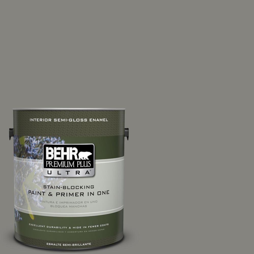 1 gal. #PPU24-07 Barnwood Gray Semi-Gloss Enamel Interior Paint