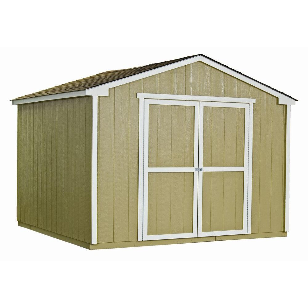 Handy home products princeton 10 ft x 10 ft wood storage for Building a storage shed