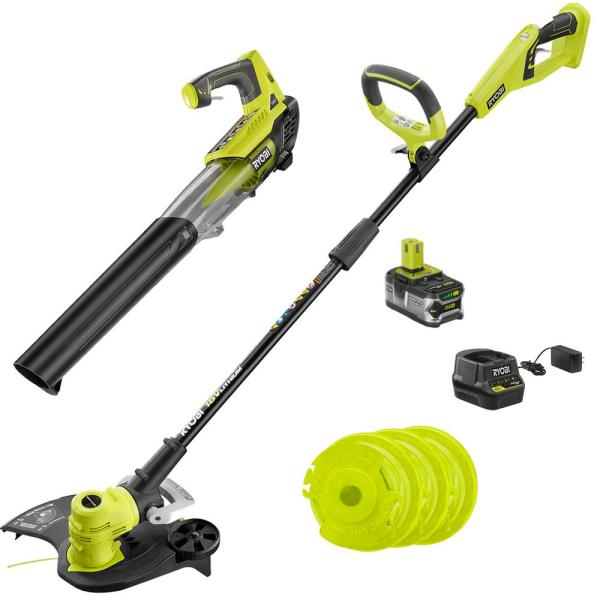 ONE+ 18-Volt Cordless String Trimmer/Edger and Blower with Extra 3-Pack of Spools Combo Kit (2-Tool)