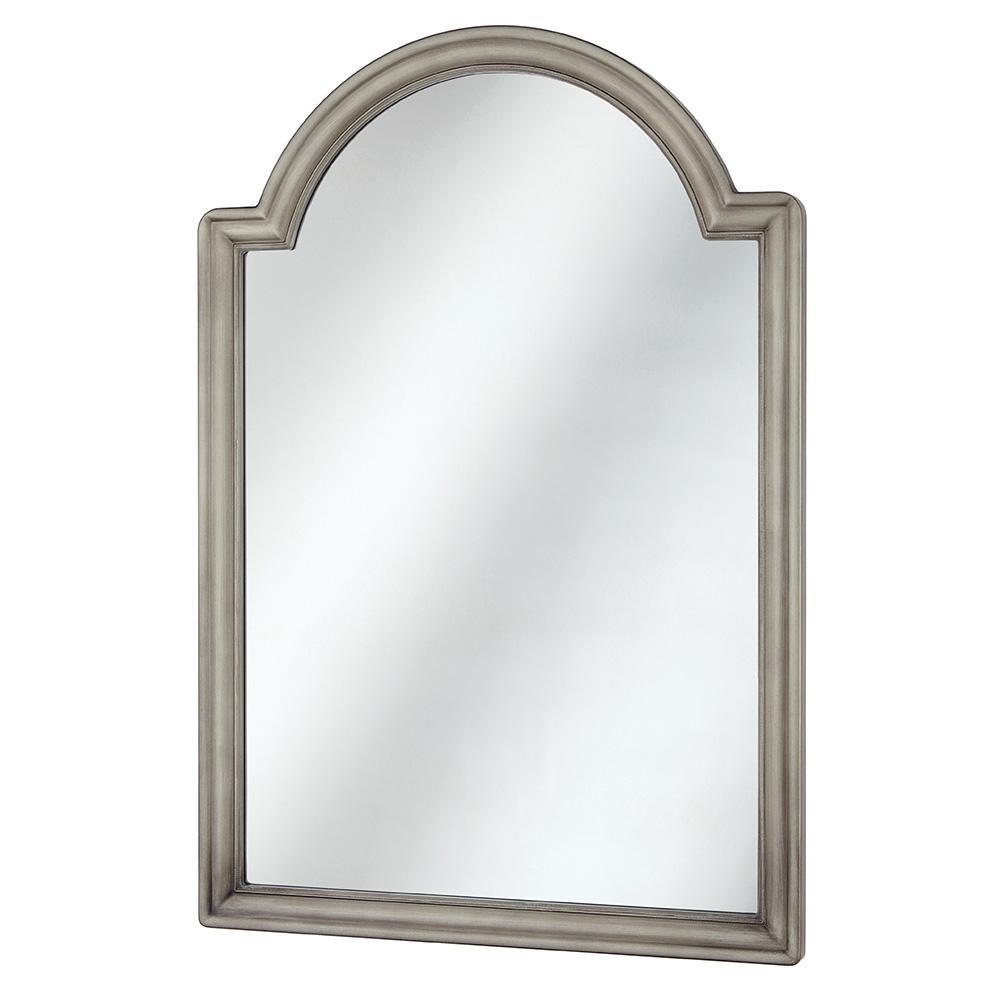 22 in. W x 32 in. H Framed Arched Anti-Fog Bathroom Vanity Mirror in Pewter