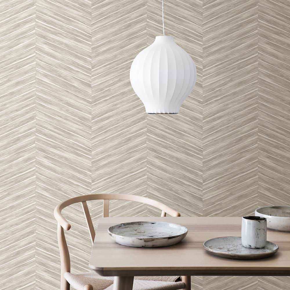 56.4 sq. ft. Pina Light Grey Chevron Weave Wallpaper