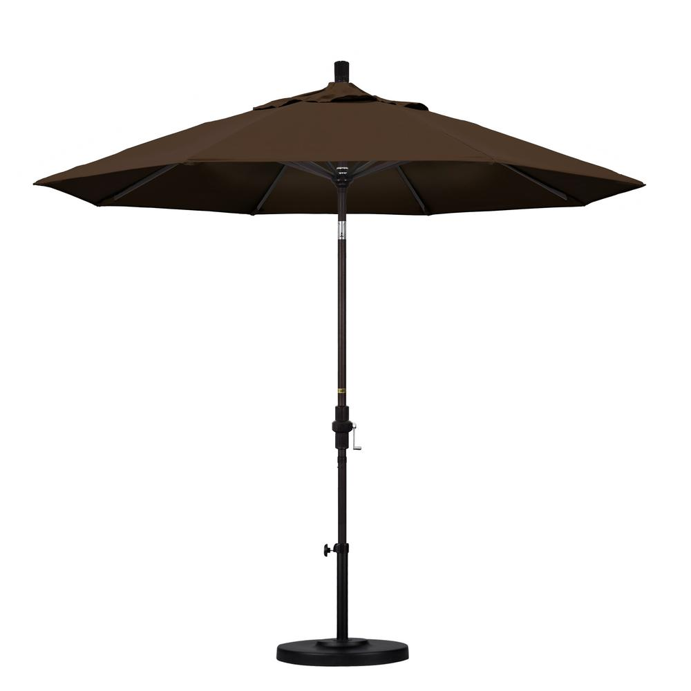 California Umbrella 9 ft. Aluminum Collar Tilt Patio Umbrella in Mocha Pacifica