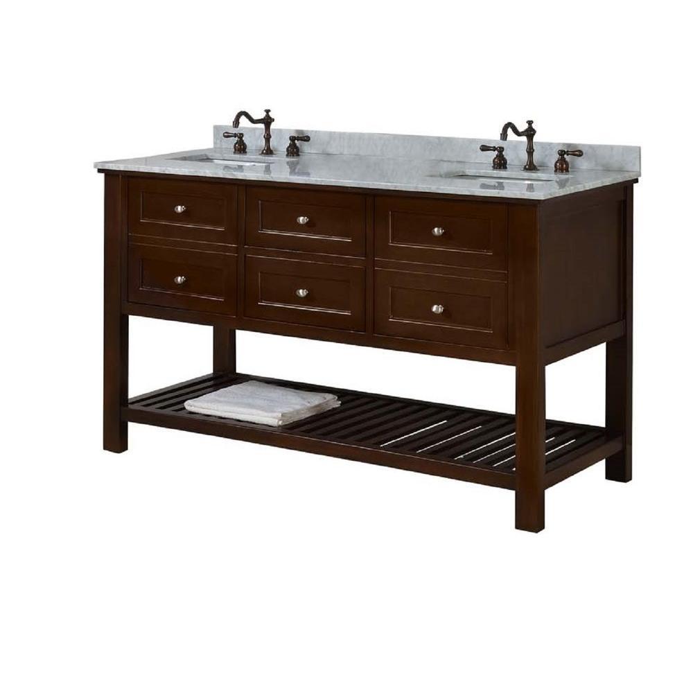 Direct vanity sink Mission Spa 60 inch Double Vanity in Dark Brown with Marble Vanity Top in Carrara White with White... by Direct vanity sink