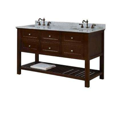 Mission Spa 60 in. Double Vanity in Dark Brown with Marble Vanity Top in Carrara White with White Basin