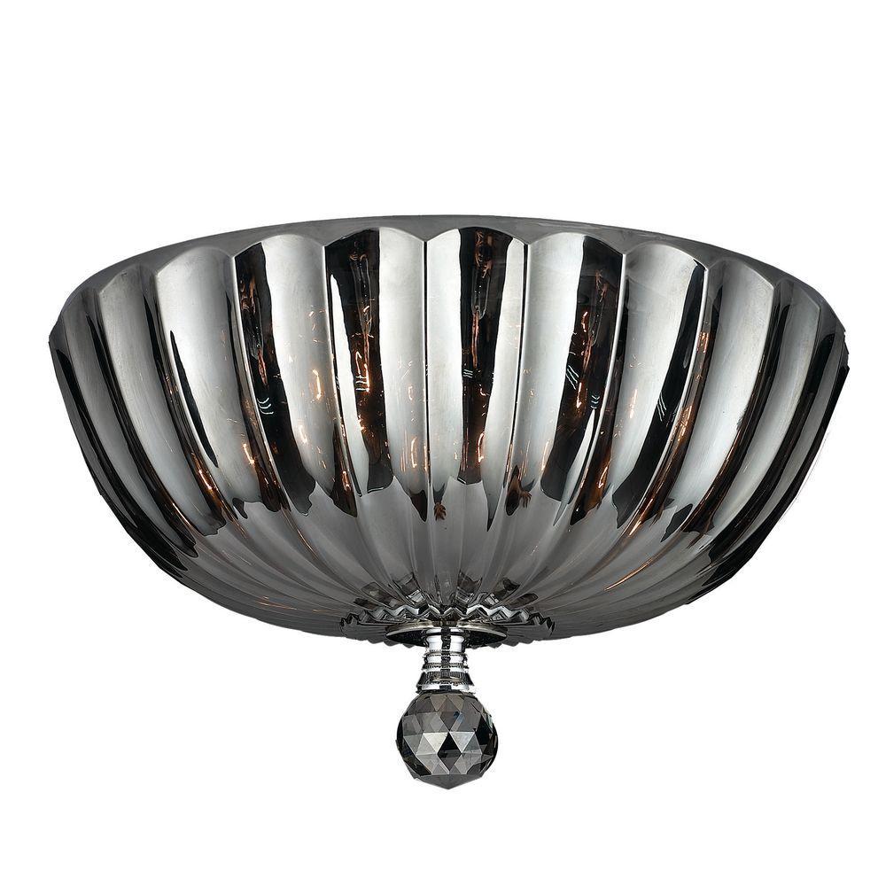 Worldwide Lighting Mansfield 4-Light Chrome and Smoke Crystal Flushmount