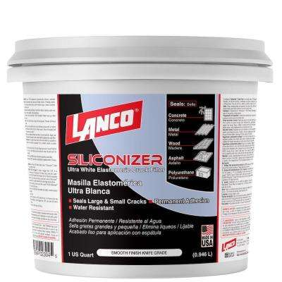 1 Qt. Siliconizer White Elastomeric Crack Filler Smooth Knife Grade for Permanent Water Resistant Adhesion