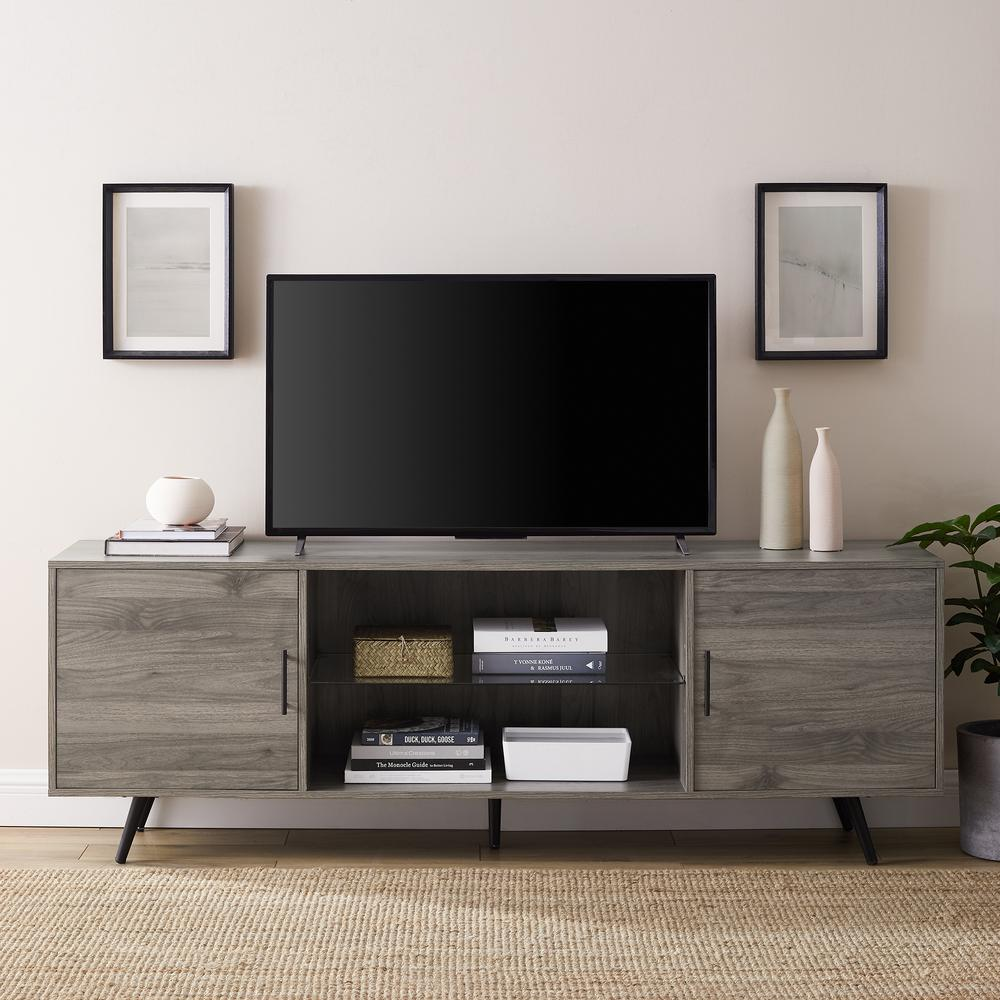89523198993 Walker Edison Furniture Company 70 in. Slate Grey Mid-Century Modern 2-Door  Console TV Stand-HD70NORSG - The Home Depot