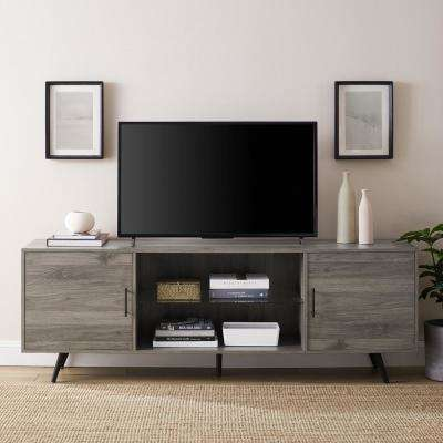 70 in. Slate Grey Mid-Century Modern 2-Door Console TV Stand